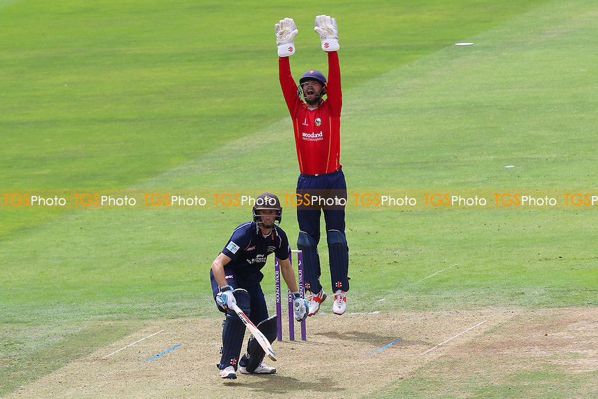 James Foster of Essex with an appeal for the wicket of John Simpson during Middlesex vs Essex Eagles, Royal London One-Day Cup Cricket at Lord's Cricket Ground on 31st July 2016