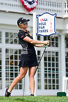 Stephanie Meadow (NIR) watches her tee shot on 16 during Wednesday's preview of the 72nd U.S. Women's Open Championship, at Trump National Golf Club, Bedminster, New Jersey. 7/12/2017.<br /> Picture: Golffile | Ken Murray<br /> <br /> <br /> All photo usage must carry mandatory copyright credit (&copy; Golffile | Ken Murray)