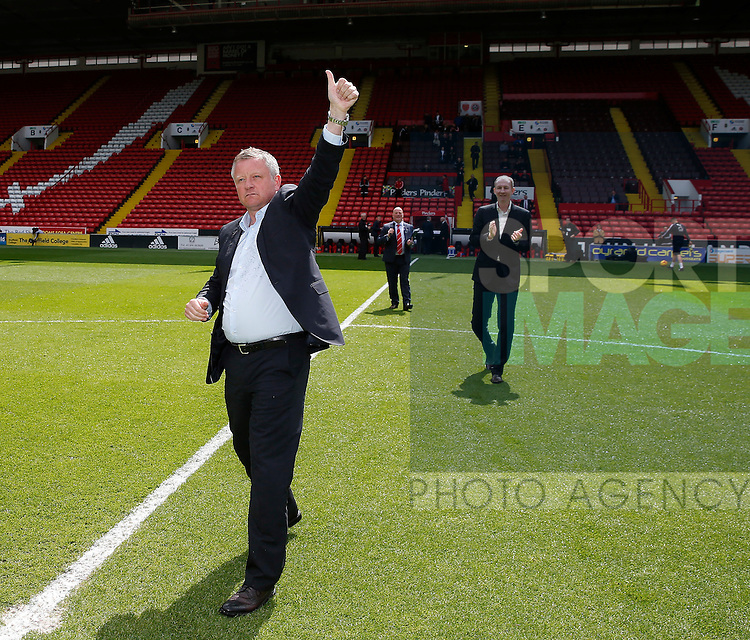 Chris Wilder new manager and Alan Knill assistant manager of Sheffield Utd is introduced to the crowd before kick off during the PDL U21 Final at Bramall Lane Sheffield. Photo credit should read: Simon Bellis/Sportimage