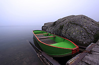 A small bright green row boat is a bright contrast in the fog.  A great find (and the only thing that I could see!) at this French Pyrenees mountain lake.