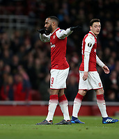 Arsenal's Alexandre Lacazette celebrates scoring his side's second goal <br /> <br /> Photographer Rob Newell/CameraSport<br /> <br /> UEFA Europa League Quarter-Final First Leg - Arsenal v CSKA Moscow - Thursday 5th April 2018 - The Emirates - London<br />  <br /> World Copyright &copy; 2018 CameraSport. All rights reserved. 43 Linden Ave. Countesthorpe. Leicester. England. LE8 5PG - Tel: +44 (0) 116 277 4147 - admin@camerasport.com - www.camerasport.com