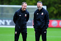 Ryan Giggs (R) Manager of Wales during the Wales Training Session at The Vale Resort in Cardiff, Wales, UK. Monday 07 October 2019