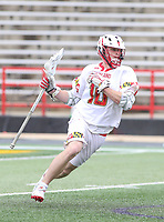 College Park, MD - April 15, 2018: Maryland Terrapins Jared Bernhardt (10) in action during game between Rutgers and Maryland at  Capital One Field at Maryland Stadium in College Park, MD.  (Photo by Elliott Brown/Media Images International)