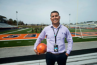NWA Democrat-Gazette/BEN GOFF @NWABENGOFF<br /> Christhian Saavedra, Rogers Heritage boys soccer head coach and Kirksey Middle School 8th grade Spanish teacher, poses for a photo Wednesday, April 11, 2018, during practice at Rogers Heritage High. Saavedra was named the Rogers Public Schools middle school teacher of the year Wednesday.