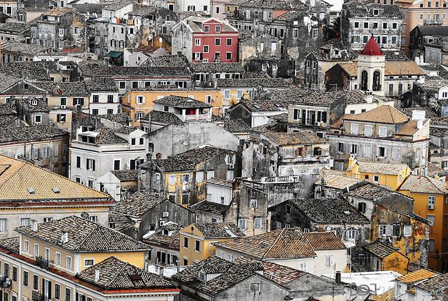 Rooftops in Corfu town, Corfu, Greece