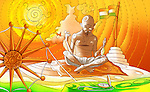Mahatma Gandhi spinning thread on spinning wheel