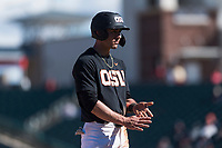 Oregon State Beavers shortstop Beau Philip (4) stands on third base during a game against the Gonzaga Bulldogs on February 16, 2019 at Surprise Stadium in Surprise, Arizona. Oregon State defeated Gonzaga 9-3. (Zachary Lucy/Four Seam Images)