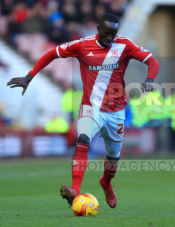 Albert Adomah of Middlesbrough - Middlesbrough vs. Leeds United - Skybet Championship - Riverside Stadium - Middlesbrough - 21/02/2015 Pic Philip Oldham/Sportimage