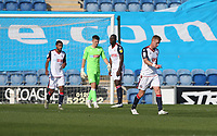 Dejection for Bolton after going 1-0 down<br /> <br /> Photographer Rob Newell/CameraSport<br /> <br /> The EFL Sky Bet League Two - Colchester United v Bolton Wanderers - Saturday 19th September 2020 - Colchester Community Stadium - Colchester<br /> <br /> World Copyright © 2020 CameraSport. All rights reserved. 43 Linden Ave. Countesthorpe. Leicester. England. LE8 5PG - Tel: +44 (0) 116 277 4147 - admin@camerasport.com - www.camerasport.com