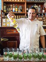 HAVANA-CUBA - 13.10.2016: Homem prepara o tradicional mojito, no bar La Bodeguta del Medio, um dos principais bares de Cuba e que criou a receita da bebida mundialmente famosa.  (Foto: Bete Marques/Brazil Photo Press)