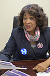 "Garden City, New York, USA. 17th April 2016. BERNICE SIMS, a campaign volunteer for Democratic presidential primary candidate Hillary Clinton, is wokring at the Canvass Kickoff at the Nassau County Democratic Office. Ms. Sims is a social worker, civil rights activist and author of the  2014 book ""Detour Before Midnight"" - her personal account of the last hours she and her family were with the Mississipi Burning civil rights workers killed by the KKK in 1964."