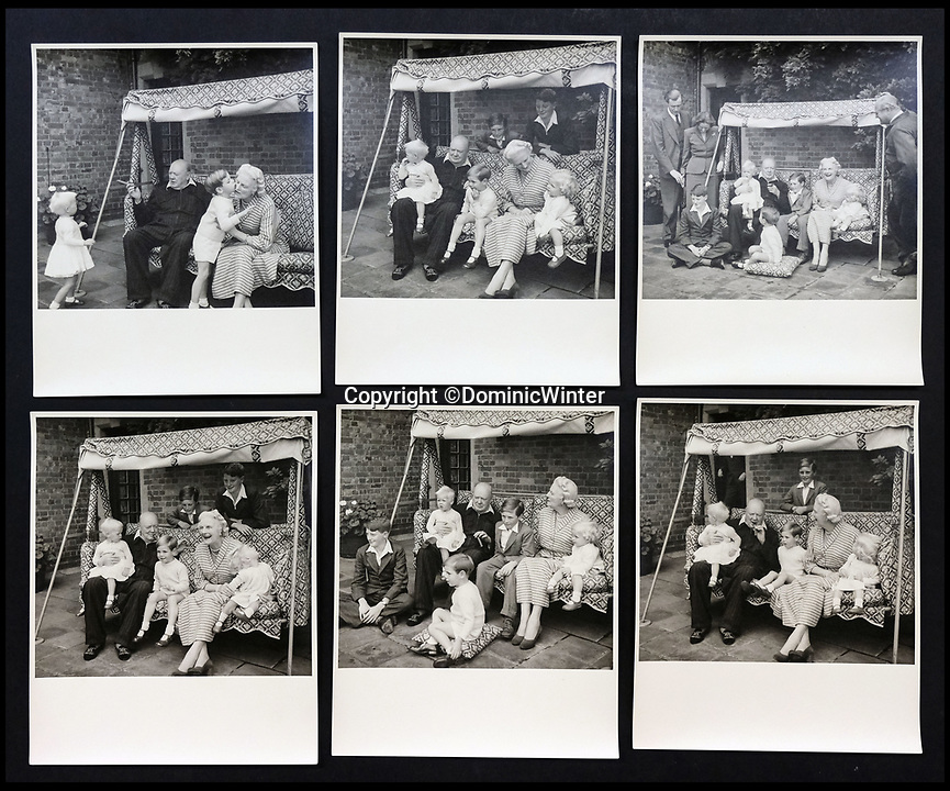 BNPS.co.uk (01202 558833)<br /> Pic:  DominicWinter/BNPS<br /> <br /> A photo montage of Churchill with his wife Clementine and their grandchildren.<br /> <br /> Charming photos of Winston Churchill with his grandchildren have emerged for sale - alongside one of his trademark cigars.<br /> <br /> The candid snaps reveal Churchill enjoying the company of his wife Clementine and their grandchildren at Chartwell, their family home.<br /> <br /> They were taken in 1951, at which point he had just been re-installed as Prime Minister after a six year absence.<br /> <br /> The partly-smoked cigar was taken by a naval officer as a memento of the British wartime leader's stay on board HMS Pembroke in 1943.