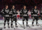 Anthony Florentino (PC - 16), Jake Walman (PC - 19), Tom Parisi (PC - 6), John Gilmour (PC - 3) - The Providence College Friars defeated the Boston University Terriers 4-3 to win the national championship in the Frozen Four final at TD Garden on Saturday, April 11, 2015, in Boston, Massachusetts.