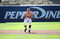 Ben Rodriguez (6) of the Pepperdine Waves in the field at first base during a game against the Fresno State Bulldogs at Eddy D. Field Stadium on March 7, 2017 in Los Angeles, California. Pepperdine defeated Fresno State, 8-7. (Larry Goren/Four Seam Images)