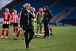 Sheffield United manager Carla Ward walks off the pitch after the The FA Women's Championship match at the Proact Stadium, Chesterfield. Picture date: 12th January 2020. Picture credit should read: James Wilson/Sportimage