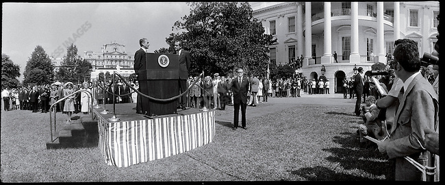 Shah Mohammad Reza Pahlavi with President Richard Nixon at the State Arrival Ceremony, South Lawn, White House. Washington, D.C., July 24, 1973