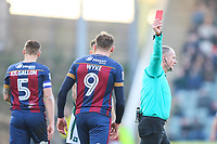 Charlie Wyke of Bradford City is sent off by referee Graham Salisbury during the Sky Bet League 1 match between Plymouth Argyle and Bradford City at Home Park, Plymouth, England on 24 February 2018. Photo by Thomas Gadd.