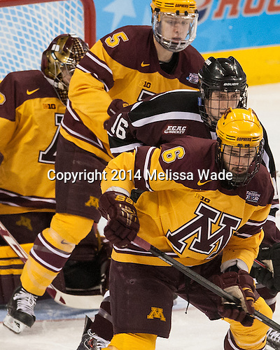 Mike Reilly (MN - 5), Kevin Sullivan (Union - 16), Jake Parenteau (MN - 6) - The Union College Dutchmen defeated the University of Minnesota Golden Gophers 7-4 to win the 2014 NCAA D1 men's national championship on Saturday, April 12, 2014, at the Wells Fargo Center in Philadelphia, Pennsylvania.