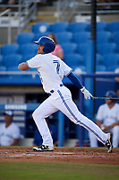 Dunedin Blue Jays catcher Mike Reeves (7) follows through on a swing during a game against the St. Lucie Mets on April 19, 2017 at Florida Auto Exchange Stadium in Dunedin, Florida.  Dunedin defeated St. Lucie 9-1.  (Mike Janes/Four Seam Images)