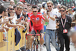 New race leader Nicolas Edet (FRA) Cofidis arrives at sign on before the start of Stage 9 of La Vuelta 2019 running 99.4km from Andorra la Vella to Cortals d'Encamp, Spain. 1st September 2019.<br /> Picture: Colin Flockton | Cyclefile<br /> <br /> All photos usage must carry mandatory copyright credit (© Cyclefile | Colin Flockton)