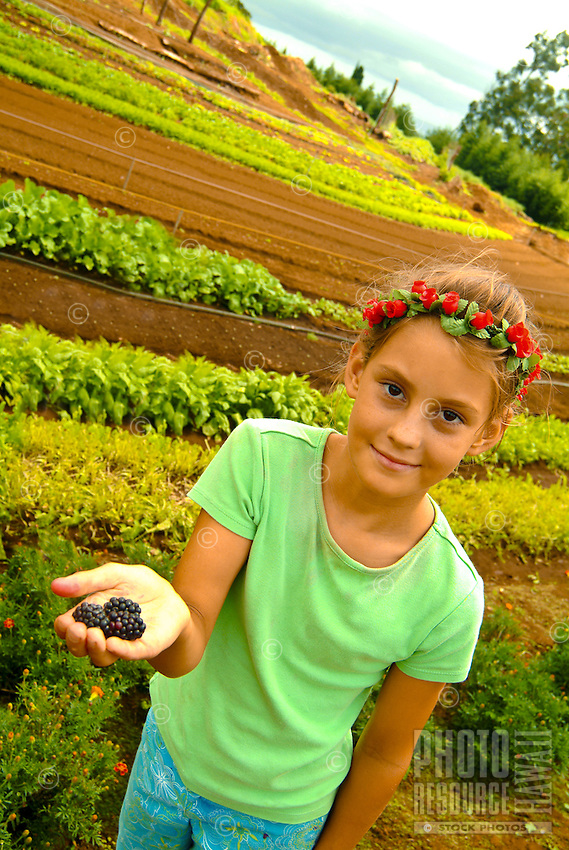 Young girl wearing a head lei holds blackberries at O'O Farmówhich supplies fruits and vegetables to O'O Restaurant in Kiheió in Upcountry Maui, community of Kula. Tours of the farm are available.