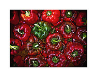 Red and green peppers for sale at farmers market<br /> <br /> Approximately an 8x5.5-inch photo on an 8x10-inch print. Signed and numbered and includes certificate of authenticity.<br /> <br /> Photo Copyright 2014 Gary Gardiner. Not to be used without written permission detailing exact usage. Photos from Gary Gardiner, may not be redistributed, resold, or displayed by any publication or person without written permission. Photo is copyright Gary Gardiner who owns all usage rights to the image.