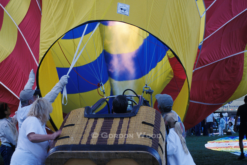 Hot Air Balloon Getting Blast of Hot Air Before Takeoff