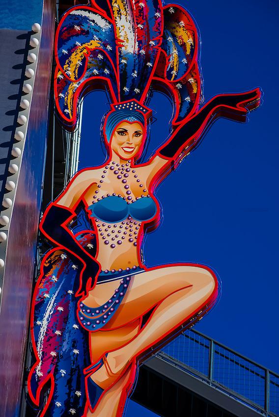 Show girl neon sign, Freemont Strreet, Downtown Las Vegas, Nevada USA.