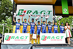 Wanty-Groupe Gobert leading the team classification at sign on before Stage 12 of the 104th edition of the Tour de France 2017, running 214.5km from Pau to Peyragudes, France. 13th July 2017.<br /> Picture: ASO/Alex Broadway | Cyclefile<br /> <br /> <br /> All photos usage must carry mandatory copyright credit (&copy; Cyclefile | ASO/Alex Broadway)