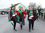 Sisters Ann Kelly, Dympna Fleming and Margaret O Halloran step it out ahead of the St Patrick's Day parade in Sixmilebridge. Photograph by John Kelly.