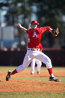 Belmont Abbey Crusaders relief pitcher Stephen Hueber (17) in action against the Shippensburg Raiders at Abbey Yard on February 8, 2015 in Belmont, North Carolina.  The Raiders defeated the Crusaders 14-0.  (Brian Westerholt/Four Seam Images)