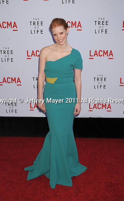 """LOS ANGELES, CA - MAY 24: Jessica Chastain attends """"The Tree Of Life"""" Los Angeles Premiere at the Bing Theatre in the Los Angeles County Museum of Art on May 24, 2011 in Los Angeles, California."""