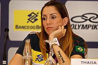 Thaisa jogadoras da seleção brasileira feminina de vôlei, durante entrevista coletiva nesta SEGUNDA-FEIRA (13)  no Hotel Marriot Guarulhos.FOTO ALE VIANNA/BRAZIL PHOTO PRESS