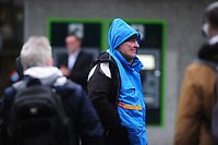 Pictured: A man walks as he battle with the wind and rain in Swansea City Centre, Swansea Wales, UK. Friday 08 February 2019<br /> Re: