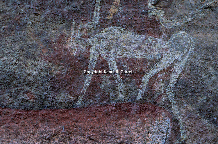 Drakensburg Cave, Rock Art, South Africa, Bushmen, Religion, shaman, trance, San people, art, painting; Paintings of the Spirit, San shamans used paintings on rock to pay homage & open portal to spirit world