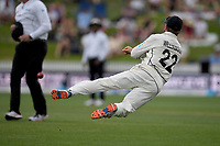 1st December 2019, Hamilton, New Zealand;  Nearly a run out for Kane Williamson as he throws down the wicket. International test match cricket, New Zealand versus England at Seddon Park, Hamilton, New Zealand. Sunday 1 December 2019.