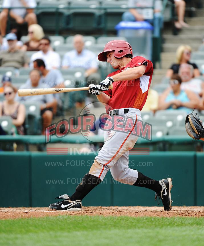 Altoona Curve infielder Jarek Cunningham (24) hits a home run during game against the Trenton Thunder at ARM & HAMMER Park on July 24, 2013 in Trenton, NJ.  Altoona defeated Trenton 4-2.  Tomasso DeRosa/Four Seam Images