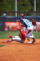 Palm Beach Cardinals second baseman Andrew Brodbeck (5) swipes the tag at Thomas Milone (22) coming into second during a game against the Charlotte Stone Crabs on April 10, 2016 at Charlotte Sports Park in Port Charlotte, Florida.  Palm Beach defeated Charlotte 4-1.  (Mike Janes/Four Seam Images)