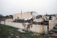 The derelict remains of Ferryhill Athletic FC Football Ground, Darlington Road, Ferryhill, County Durham, pictured on 7th April 1996