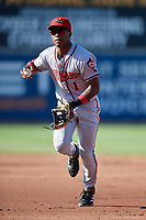 Richmond Flying Squirrels second baseman Jalen Miller (1) throws to first base during an Eastern League game against the Erie SeaWolves on August 28, 2019 at UPMC Park in Erie, Pennsylvania.  Richmond defeated Erie 6-4 in the first game of a doubleheader.  (Mike Janes/Four Seam Images)