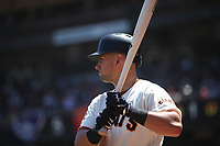 SAN FRANCISCO, CA - JUNE 28:  Joe Panik #12 of the San Francisco Giants waits in the on deck circle during the game against the Colorado Rockies at AT&T Park on Thursday, June 28, 2018 in San Francisco, California. (Photo by Brad Mangin)
