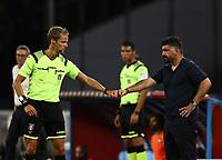 19th July 2020; Stadio San Paolo, Naples, Campania, Italy; Serie A Football, Napoli versus Udinese;  referee Daniele Chiffi fist bumps Gennaro Gattuso coach of Napoli