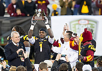 SAN FRANCISCO, CA - December 29, 2012: Arizona State running back Marion Grice (1) is awarded the Offensive Player of the Game after Navy Midshipmen vs the Arizona State Sun Devils in the 2012 Kraft Fight Hunger Bowl at AT&T Park in San Francisco, California. Final score Navy 28, Arizona State 62.