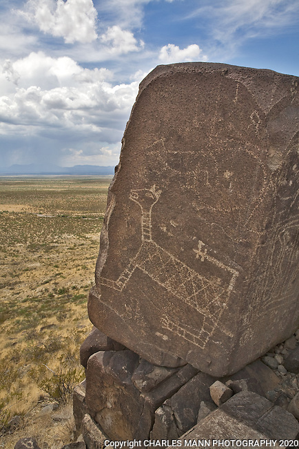 A cat like petroglyph seems to watch out over the Tularosa Basin at Three Rivers State Park near Tularosa, New Mexico