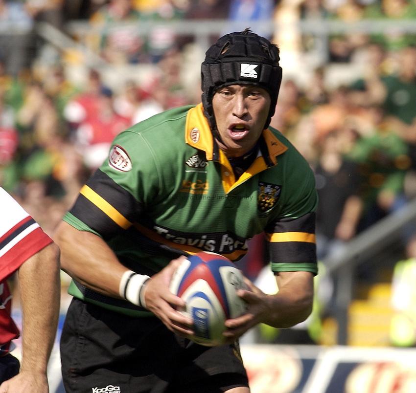 Photo. Henry Browne..06/09/2003..Northampton Saints v Gloucester pre season friendly..Bruce Reihana