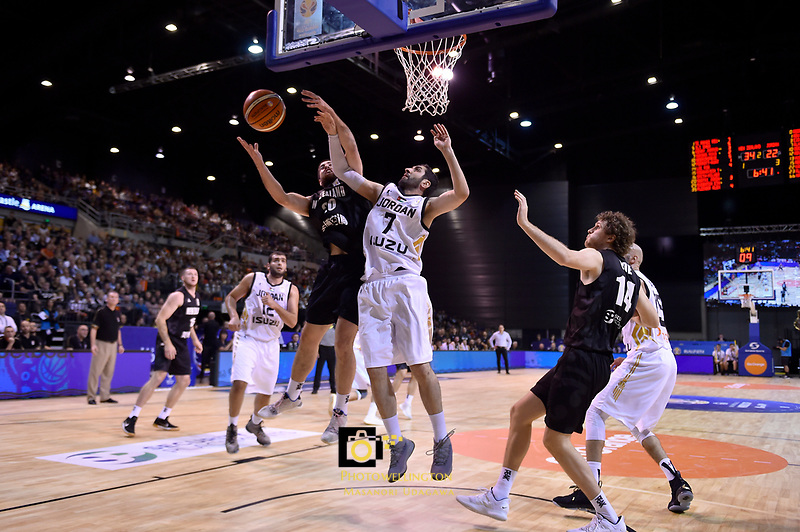 New Zealand Tall Blacks&rsquo; Jordan Ngatai and Jordan&rsquo;s Ahmad Alhamarsher in action during the FIBA World Cup Basketball Qualifier - NZ Tall Blacks v Jordan at Horncastle Arena, Christchurch, New Zealand on Thursday 29 November  2018. <br /> Photo by Masanori Udagawa. <br /> www.photowellington.photoshelter.com