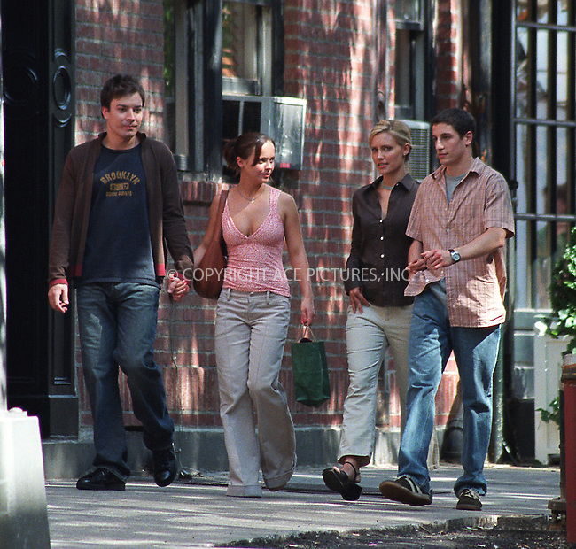 (L to R) Jimmy Fallon, Christina Ricci, unidentified co-star and Jason Biggs on the set of Woody Allen's new movie on Bleecker Street in the West Village, New York. June 28, 2002. Please byline: Alecsey Boldeskul/NY Photo Press.   ..*PAY-PER-USE*      ....NY Photo Press:  ..phone (646) 267-6913;   ..e-mail: info@nyphotopress.com