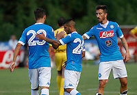 Esultanza Manolo Gabbiadini Lorenzo Insigne  Mirko Valdifiori durante l amichevole Napoli  Anaune a Dimaro 21 Luglio 2015<br /> <br /> Preseason summer training of Italy soccer team  SSC Napoli  in Dimaro Italy July 11, 2015
