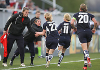 Becky Sauerbrunn of the Washington Freedom is congratulated after scoring  against the Chicago Red Stars during a WPS match at Maryland Soccerplex on April 11 2009, in Boyd's, Maryland.  The game ended in a 1-1 tie.