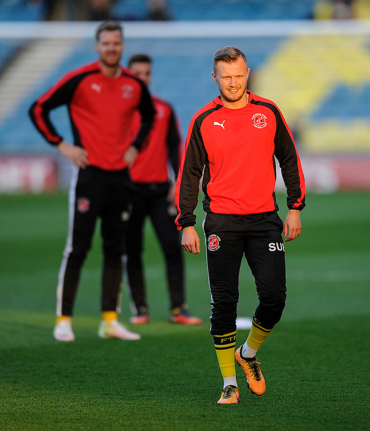 Fleetwood Town's David Ball during the pre-match warm-up <br /> <br /> Photographer Ashley Western/CameraSport<br /> <br /> Football - The Football League Sky Bet League One - Millwall v Fleetwood Town - Tuesday 19th April 2016 - The Den - London   <br /> <br /> &copy; CameraSport - 43 Linden Ave. Countesthorpe. Leicester. England. LE8 5PG - Tel: +44 (0) 116 277 4147 - admin@camerasport.com - www.camerasport.com